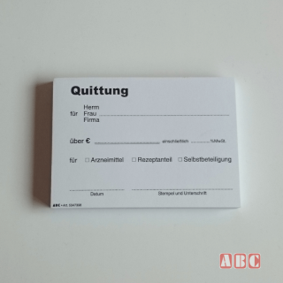 Quittungsblock APOTHEKE 105x75 mm